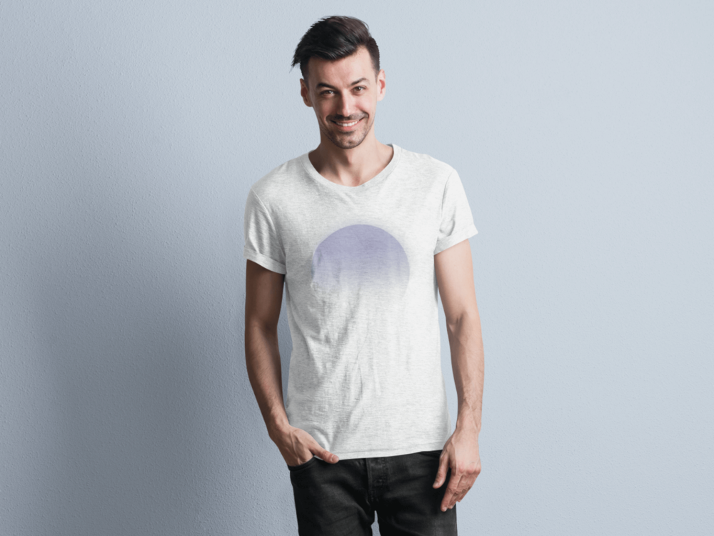Man wearing Dreamsville white t-shirt