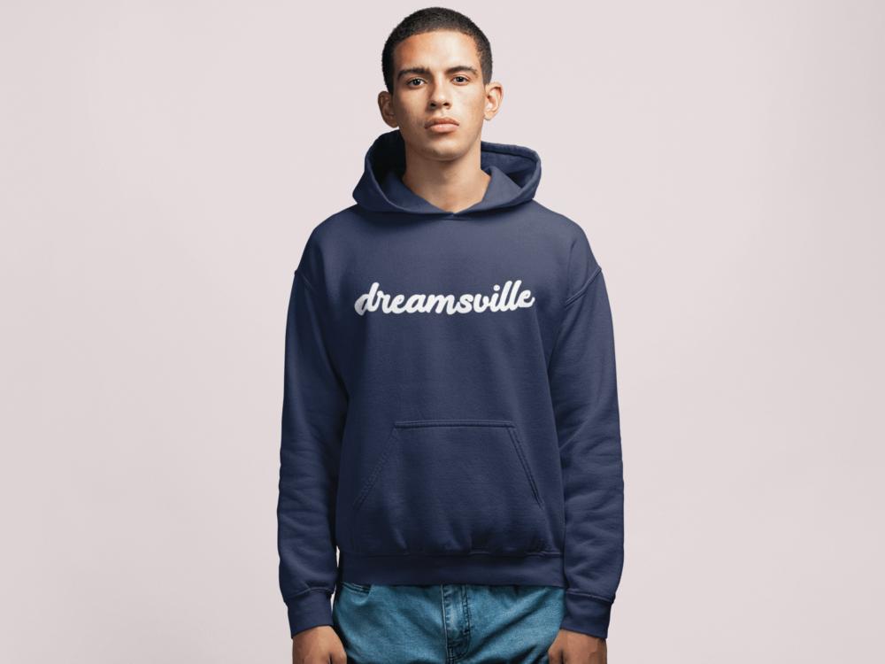 Men wearing dark blue Dreamsville hoodie