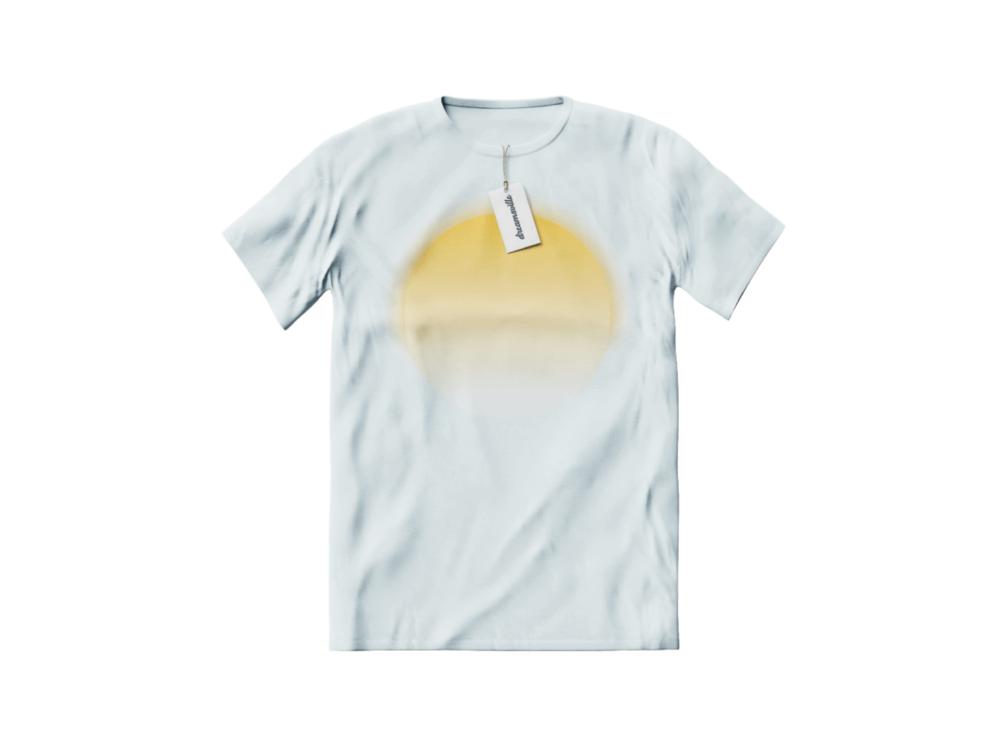 white t-shirt with sunrise print